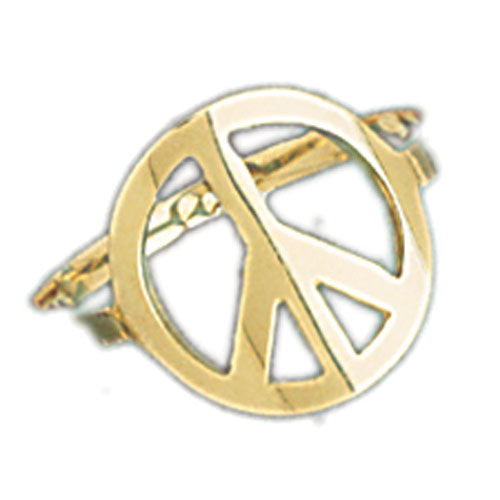14k Yellow Gold Peace Sign Ladies Ring