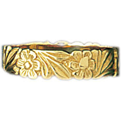 14k Yellow Gold Flower Band