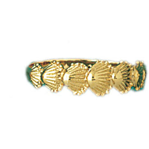 14k Yellow Gold Sea Shells Band