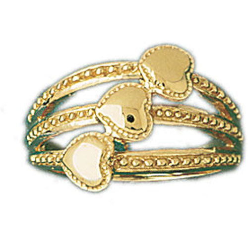 14k Yellow Gold Three Layer Heart Ring
