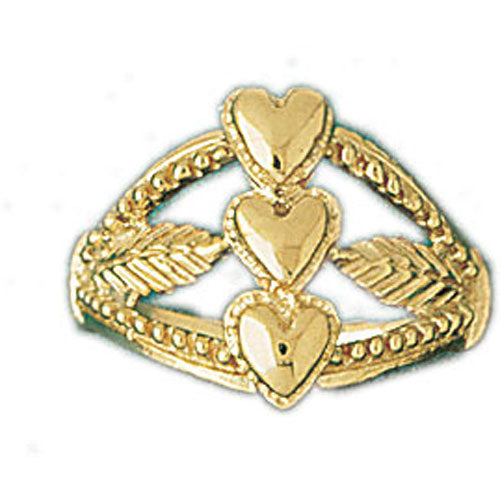 14k Yellow Gold Three Heart Ring