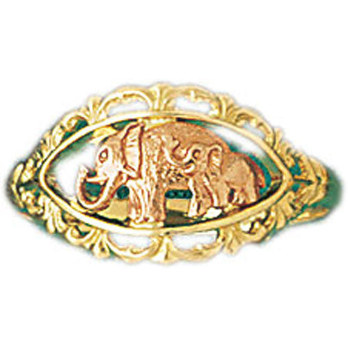 14k Yellow Gold Elephant Ring