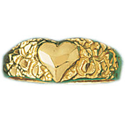 14k Yellow Gold Heart Band