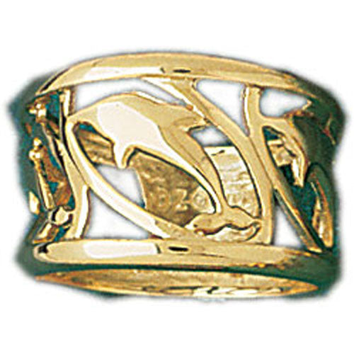 14k Yellow Gold Dolphin Band