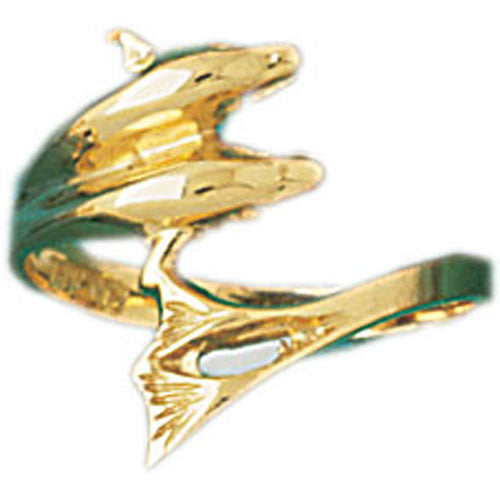 14k Yellow Gold Dolphin Ring