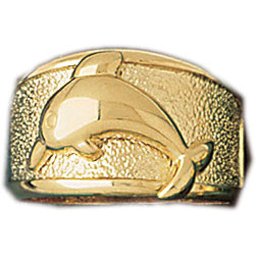 14k Yellow Gold Dolphin Dome Ring