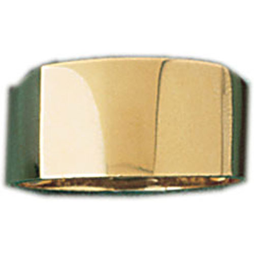 14k Yellow Gold Plain Rectangular Dome Ring