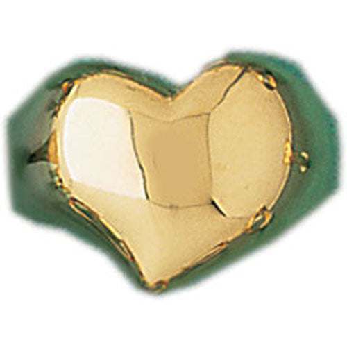 14k Yellow Gold Heart Dome Ring
