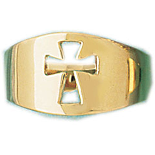 14k Yellow Gold Cross Dome Ring