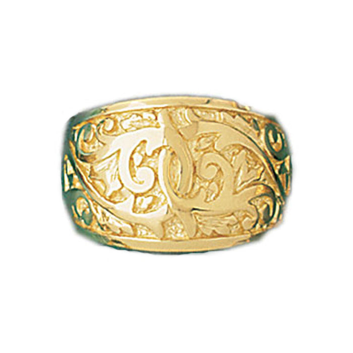 14k Yellow Gold Random Pattern Dome Ring