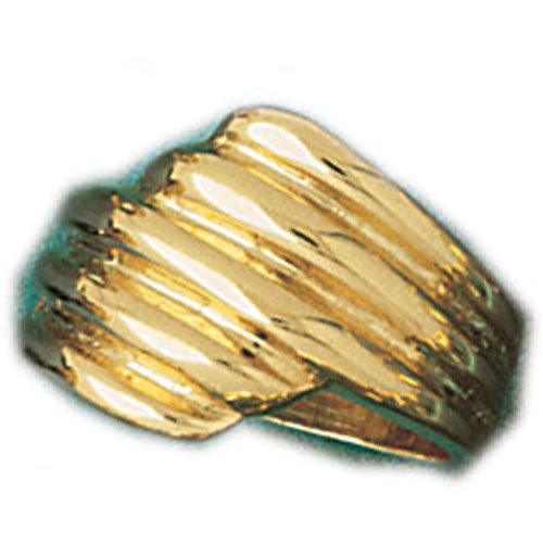 14k Yellow Gold Fashionable Pattern Dome Ring