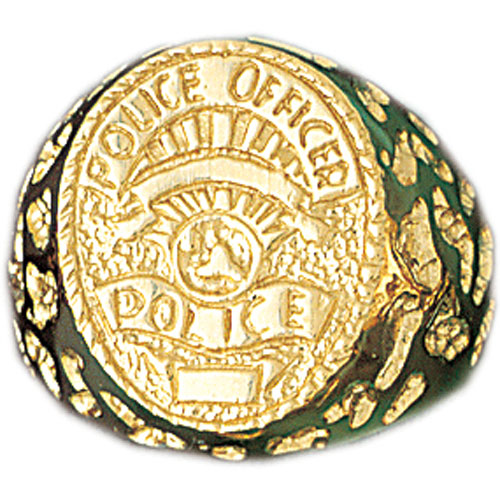 14k Yellow Gold Police Officer Ring