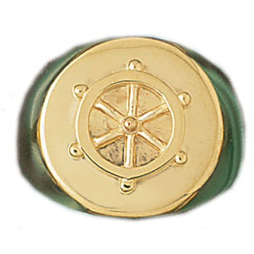 14k Yellow Gold Captain with Shipswheel Ring