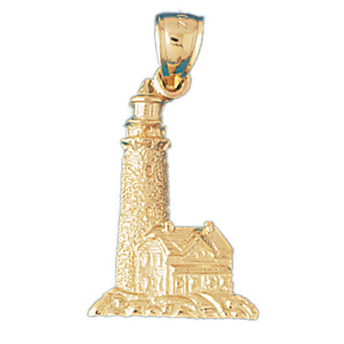 14k Yellow Gold Lighthouse Charm