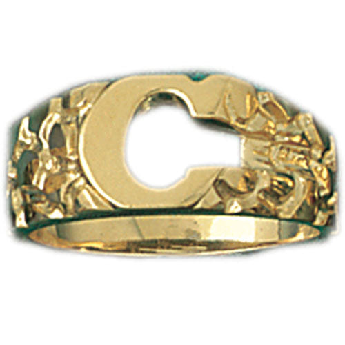 14k Yellow Gold Initial C Ring