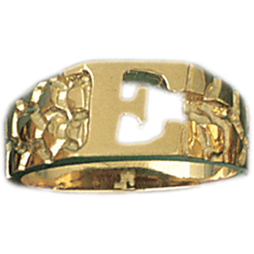 14k Yellow Gold Initial E Ring