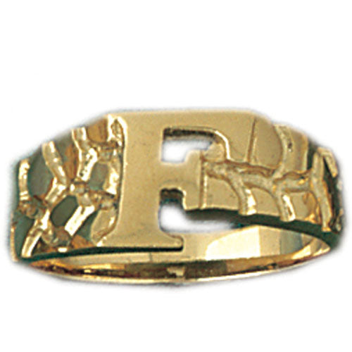 14k Yellow Gold Initial F Ring