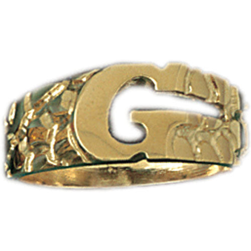 14k Yellow Gold Initial G Ring