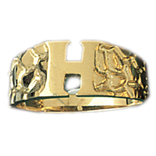 14k Yellow Gold Initial H Ring
