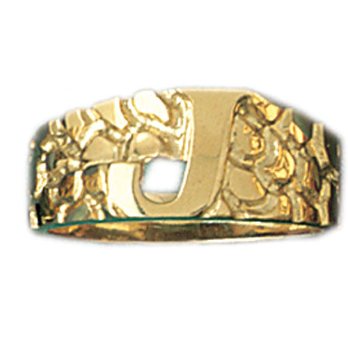 14k Yellow Gold Initial J Ring