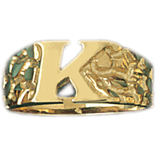 14k Yellow Gold Initial K Ring