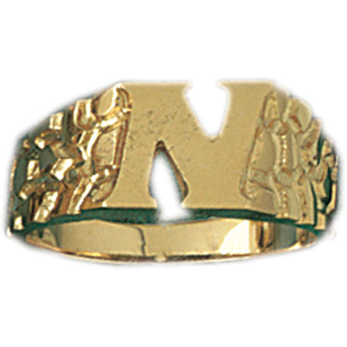 14k Yellow Gold Initial N Ring