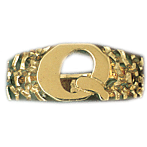 14k Yellow Gold Initial Q Ring