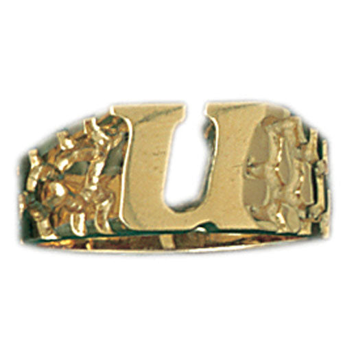 14k Yellow Gold Initial U Ring