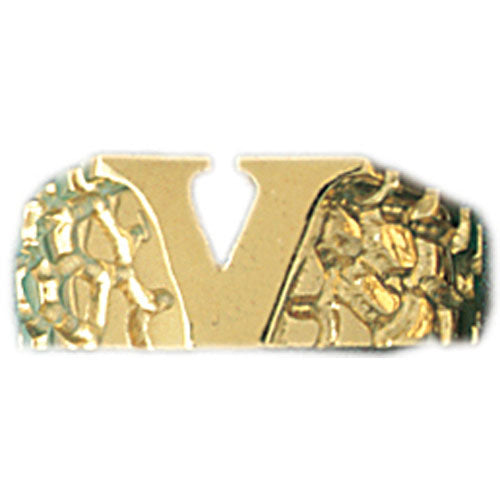 14k Yellow Gold Initial V Ring