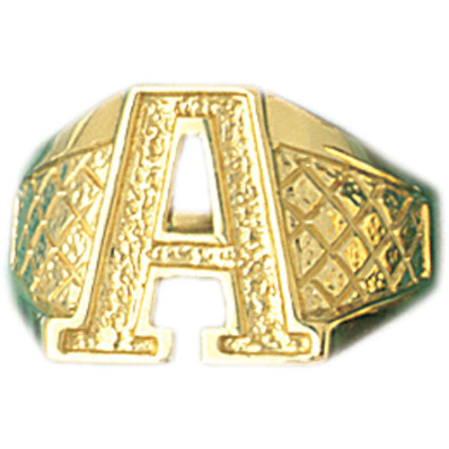 14k Yellow Gold Initial A Ring