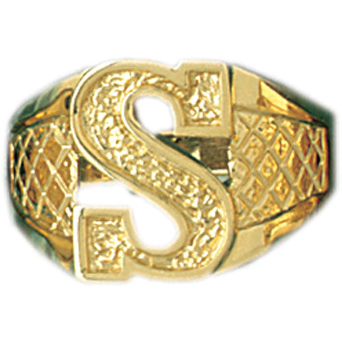 14k Yellow Gold Initial R Ring