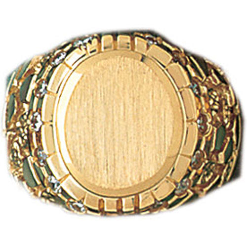14k Yellow Gold CZ Signet Ring