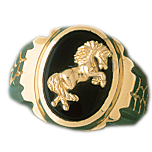 14k Yellow Gold Horse Onyx Ring