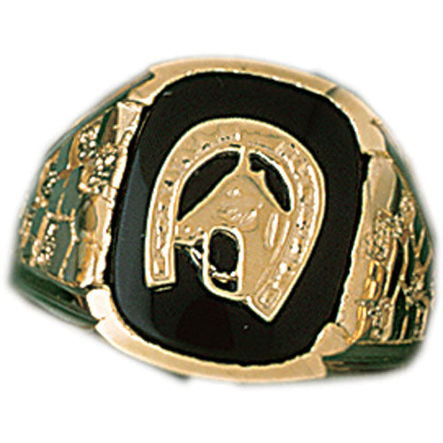 14k Yellow Gold Horseshoe with a Horse Onyx Ring