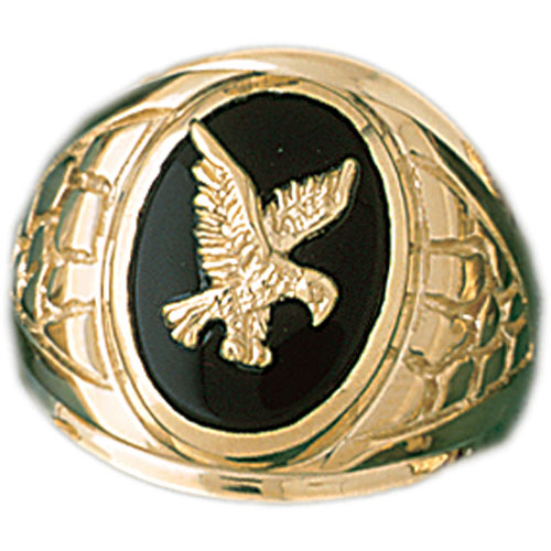14k Yellow Gold Eagle Onyx Ring