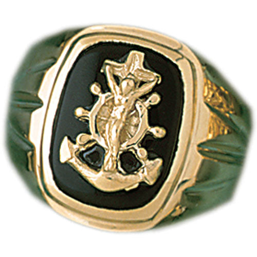 14k Yellow Gold Virgin Mary Onyx Ring