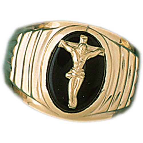 14k Yellow Gold Crucifix Onyx Ring