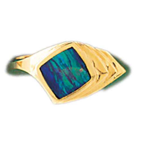 14k Yellow Gold Created Opal Ring