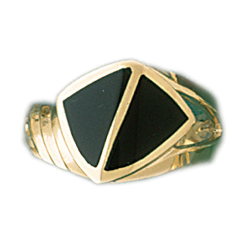 14k Yellow Gold Ladies Black Onyx Ring