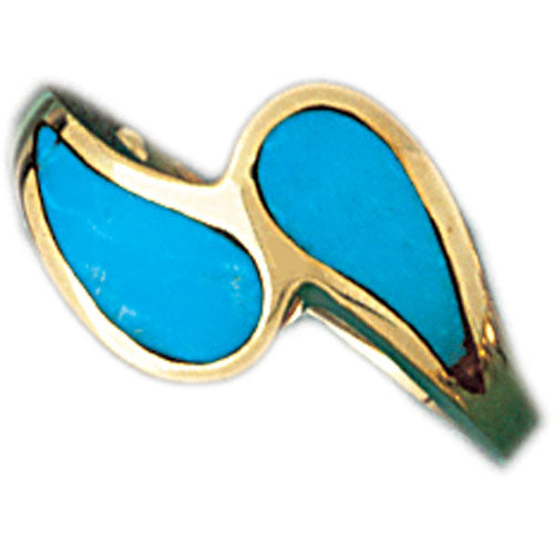 14k Yellow Gold Ladies Turquoise Ring