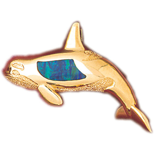14k Yellow Gold Created Opal Whale Pendant