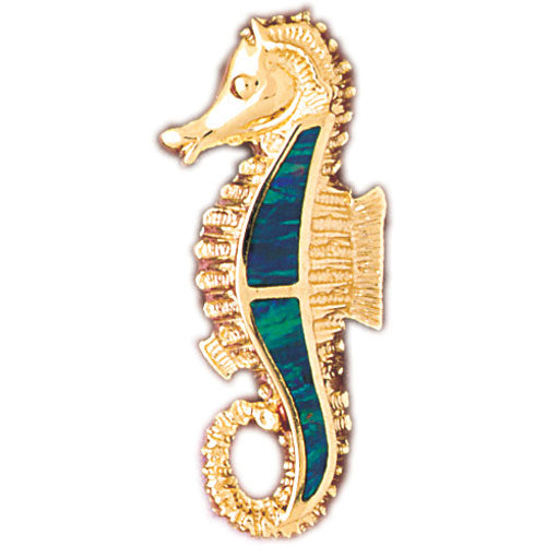 14k Yellow Gold Created Opal Seahorse Pendant