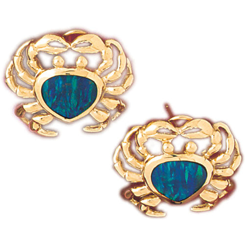14k Yellow Gold Created Opal Crab Earrings