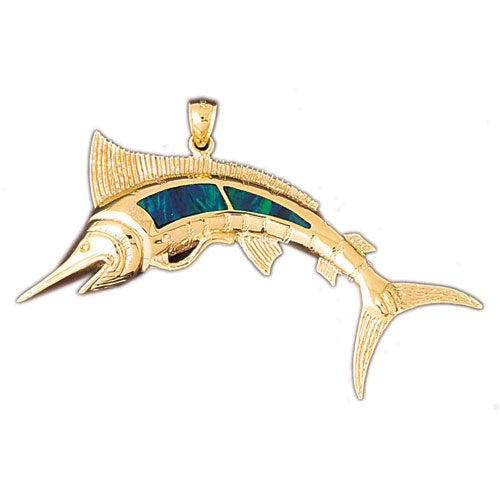 14k Yellow Gold Created Opal Fish Pendant