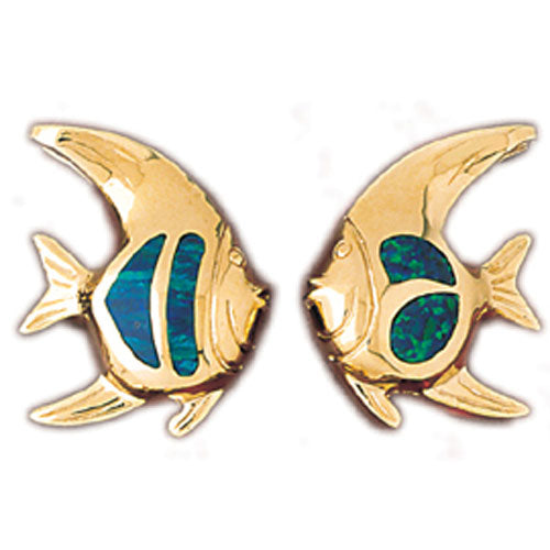 14k Yellow Gold 3-D Created Opal Fish Earrings