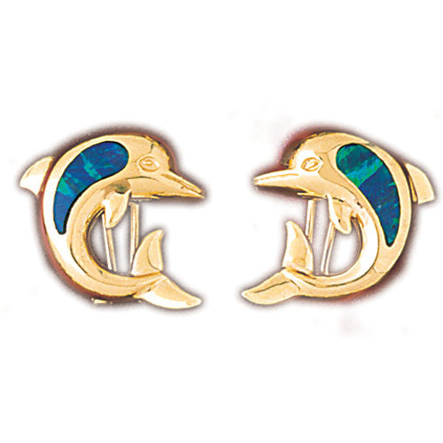 14k Yellow Gold Created Opal Dolphin Earrings