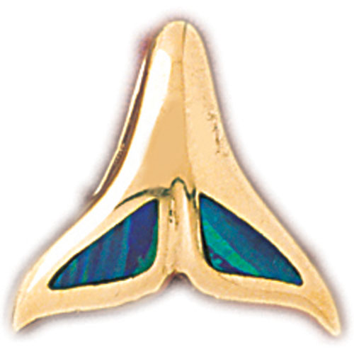 14k Yellow Gold Created Opal Whale Tail Pendant