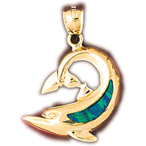 14k Yellow Gold Created Opal Dolphin Pendant