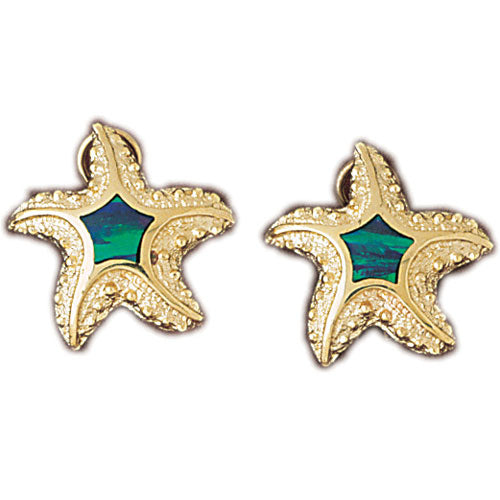 14k Yellow Gold Created Opal Starfish Earrings