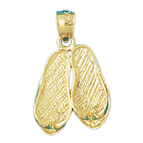 14k Yellow Gold Flip Flop Charm